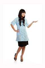smiling nurse presenting empty copy space