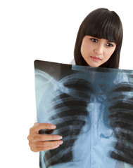 Nurse Looking At A Patients Chest X-Ray