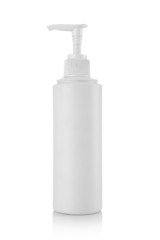 Plastic pump soap bottle isolated over white