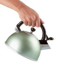 man holding a chrome kettle