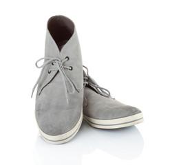 pair of gray men sneakers shoes