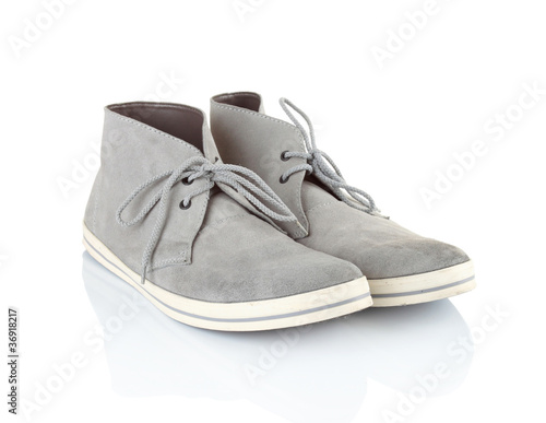 pair of gray men sneakers shoes