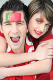 Couple of Portuguese football supporters