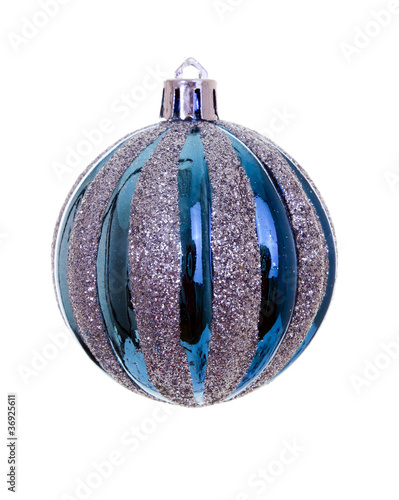 Blue christmas bauble on white