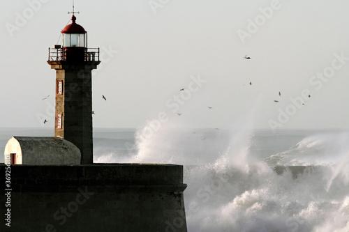 Fototapeten,stürmig,sturm,welle,leuchtturm