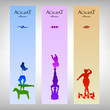 Set of three colorful banner with acrobat character.