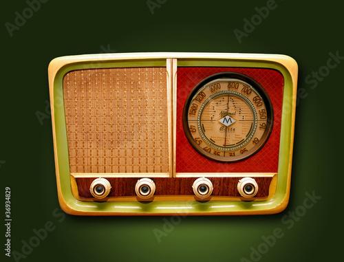 Leinwanddruck Bild retro Radio
