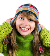 Teenage Girl Portrait. Warm Clothes