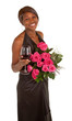 Happy Woman  Posing with Roses and a Glass of Wine