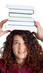 Female student balancing books