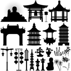 Chinese Asian Temple Building Architecture Design Elements
