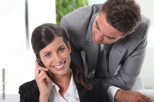 Businessman looking at his wife