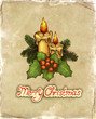 Greeting card with drawing of christmas decorations