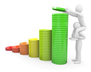 Personnages 3d et diagramme,  croissance et travail en équipe
