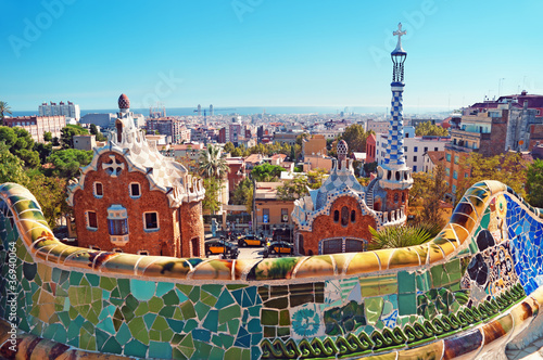 Foto op Canvas Artistiek mon. Park Guell in Barcelona. Barcelona - Spain