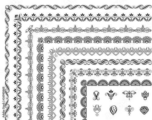 Set of border elements design.