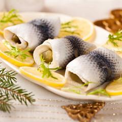 Pickled herring fillets for christmas