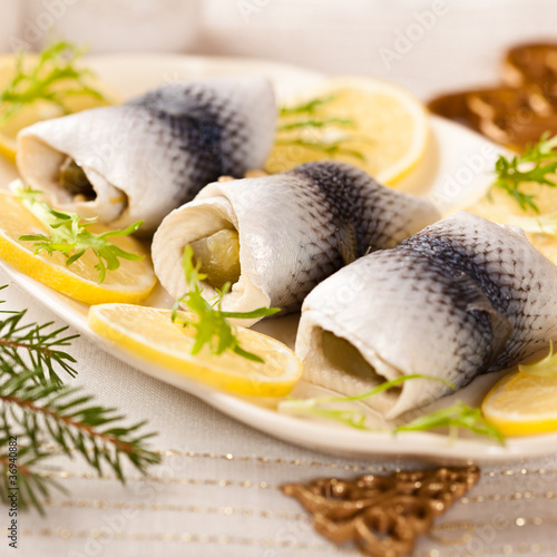 Pickled herring fillets for christmas