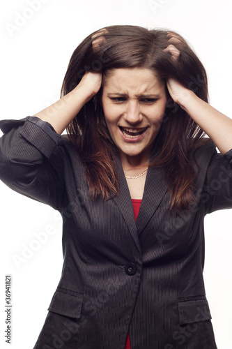 Angry businesswoman over white background