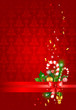 Red christmas  background with decoration