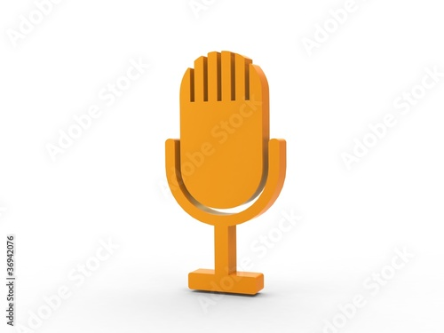 3d Icon Microphon orange