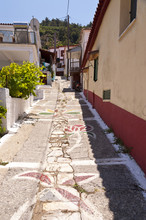 Street scene in Manolates su Samos