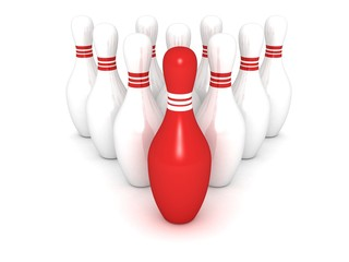 bowling pins with red leader