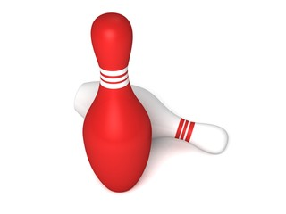 red and white bowling pins