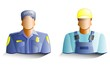 Policeman and builder icons