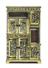 old case, cabinet, drawing, design markers