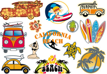 California beach vector cliparts