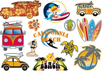 California beach vector cliparts