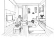 Graphic sketch,  living room