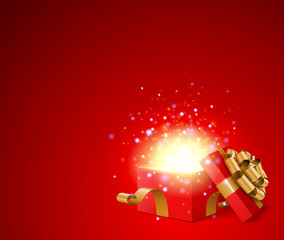Open gift with fireworks from light vector background
