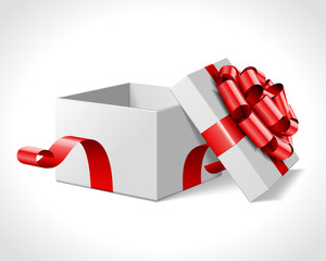 Open gift box with bow isolated on white. Vector illustration