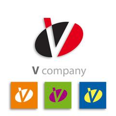 Oval Logo initial letter V # Vector
