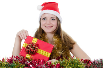 Christmas girl with gifts isolated on white