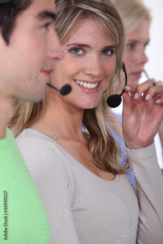 A team of call centre workers
