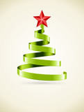 Christmas tree from green ribbon and star vector background