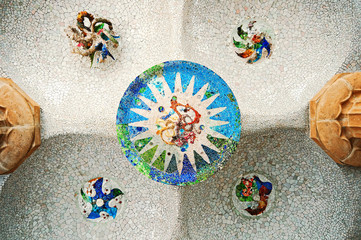 Colored tile mosaic at Parc Guell in Barcelona.