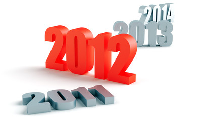 number of past and future years, and 2012 in red