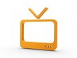 3d Icon Fernseher orange