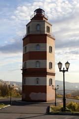 Memorial red brick light tower in Murmansk, Russia