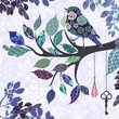 Retro background of tree branch with leaves and bird of patches