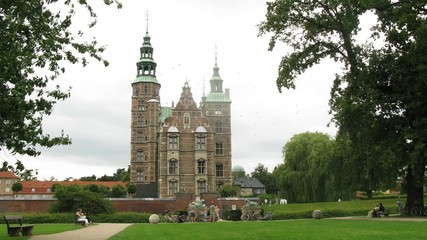 Beautiful Rosenborg Castle, view from garden, time lapse
