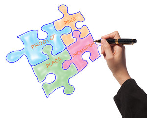 Woman drawing the marketing mix jigsaws for business process