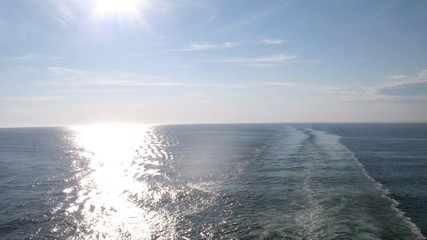 Sun road on surface of water, view from ship