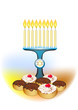 hanuka candles on with jewish traditional cakes