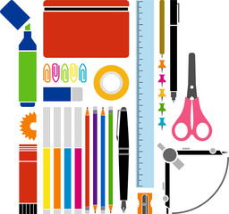 material escolar y de oficina vectorizado