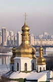 Golden domes of the church of Holy Cross in Kiev Pechersk Lavra